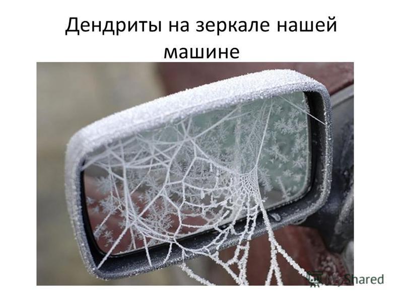 Дендриты на зеркале нашей машине