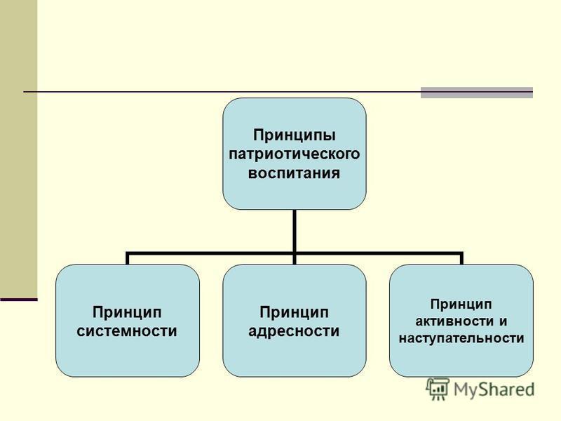Принципы патриотического воспитания Принцип системности Принцип адресности Принцип активности и наступательности