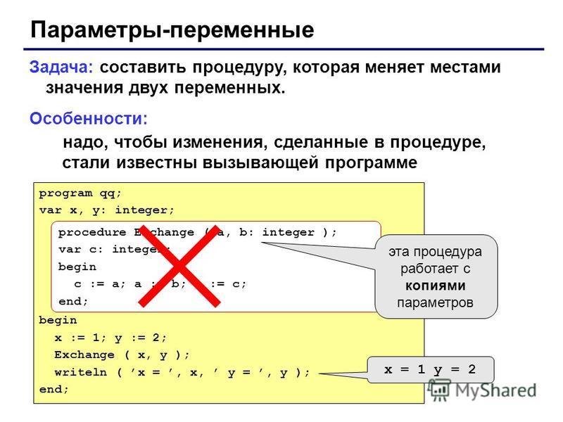 Параметры-переменные Задача: составить процедуру, которая меняет местами значения двух переменных. Особенности: надо, чтобы изменения, сделанные в процедуре, стали известны вызывающей программе program qq; var x, y: integer; begin x := 1; y := 2; Exc