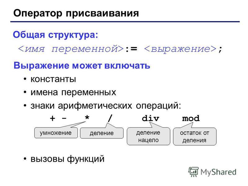 Оператор присваивания Общая структура: := ; Выражение может включать константы имена переменных знаки арифметических операций: + - * / div mod вызовы функций умножение деление деление нацело остаток от деления