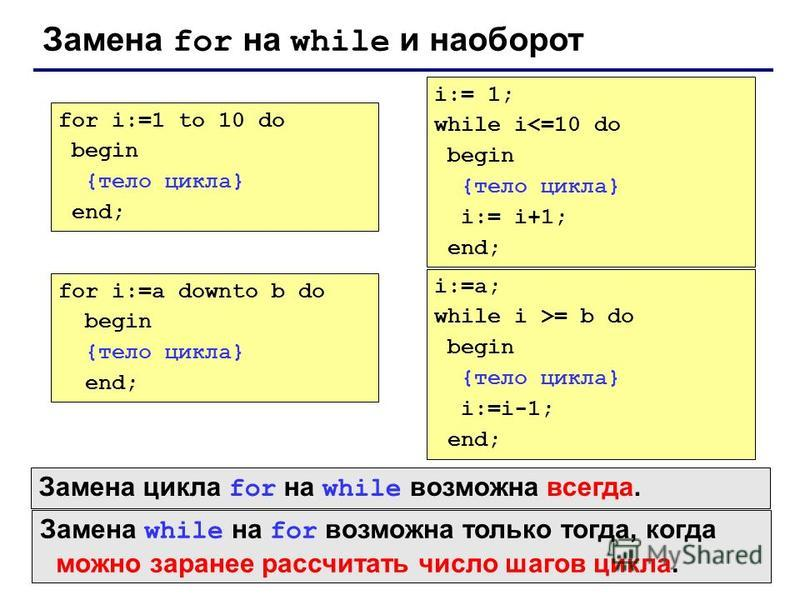 Замена for на while и наоборот for i:=1 to 10 do begin {тело цикла} end; i:= 1; while i<=10 do begin {тело цикла} i:= i+1; end; for i:=a downto b do begin {тело цикла} end; i:=a; while i >= b do begin {тело цикла} i:=i-1; end; Замена while на for воз