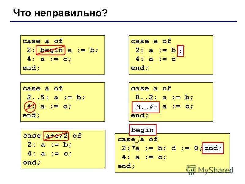 Что неправильно? case a of 2: begin a := b; 4: a := c; end; case a of 2: a := b 4: a := c end; ; case a of 2..5: a := b; 4: a := c; end; case a of 0..2: a := b; 6..3: a := c; end; 3..6: case a+c/2 of 2: a := b; 4: a := c; end; case a of 2: a := b; d