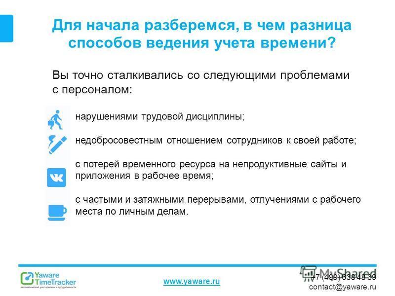+7 (499) 638 48 39 contact@yaware.ru www.yaware.ru Для начала разберемся, в чем разница способов ведения учета времени? Вы точно сталкивались со следующими проблемами с персоналом: нарушениями трудовой дисциплины; недобросовестным отношением сотрудни