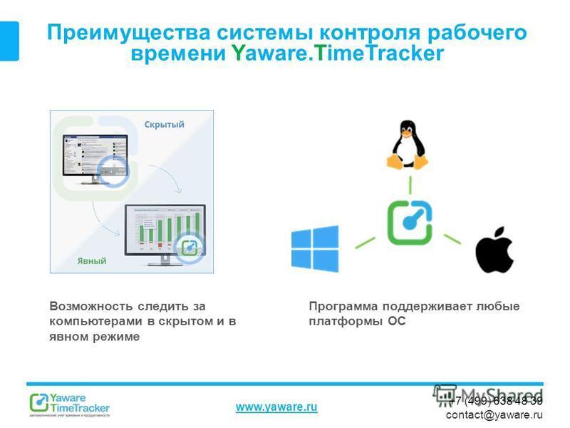 +7 (499) 638 48 39 contact@yaware.ru www.yaware.ru Преимущества системы контроля рабочего времени Yaware.TimeTracker Программа поддерживает любые платформы ОС Возможность следить за компьютерами в скрытом и в явном режиме