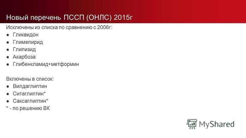 Новый перечень ПССП (ОНЛС) 2015 г Исключены из списка по сравнению с 2006 г: Гликвидон Глимепирид Глипизид Акарбоза Глибенкламид+метформин Включены в список: Вилдаглиптин Ситаглиптин* Саксаглиптин* * - по решению ВК