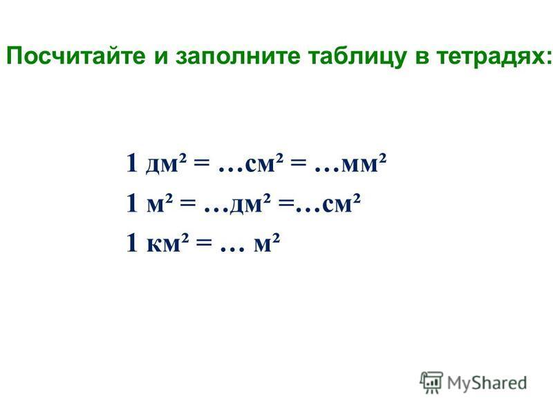 1 дм² = …см² = …мм² 1 м² = …дм² =…см² 1 км² = … м² Посчитайте и заполните таблицу в тетрадях: