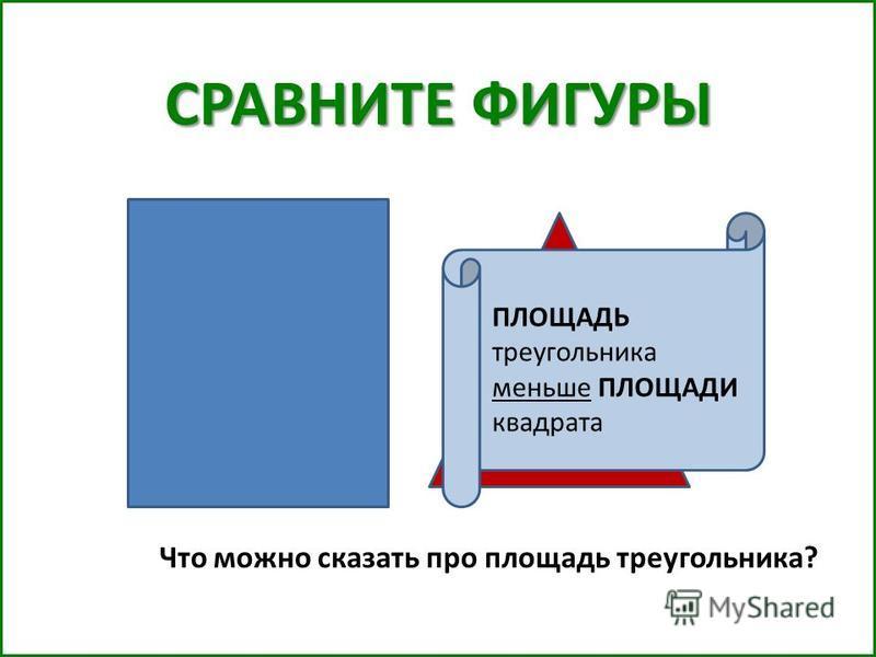 СРАВНИТЕ ФИГУРЫ Что можно сказать про площадь треугольника? ПЛОЩАДЬ треугольника меньше ПЛОЩАДИ квадрата