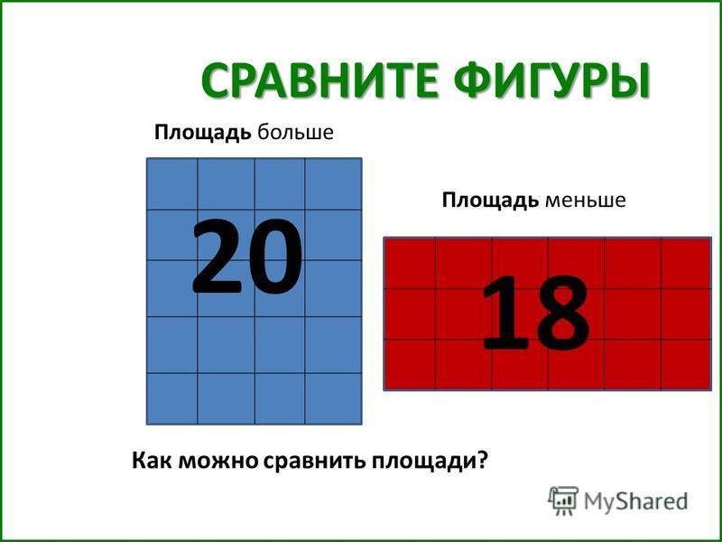 СРАВНИТЕ ФИГУРЫ Как можно сравнить площади? 20 18 Площадь больше Площадь меньше