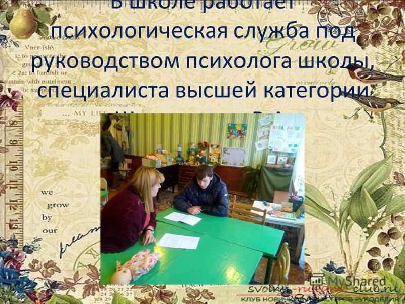 В школе работает психологическая служба под руководством психолога школы, специалиста высшей категории Шевкаленко В.А.