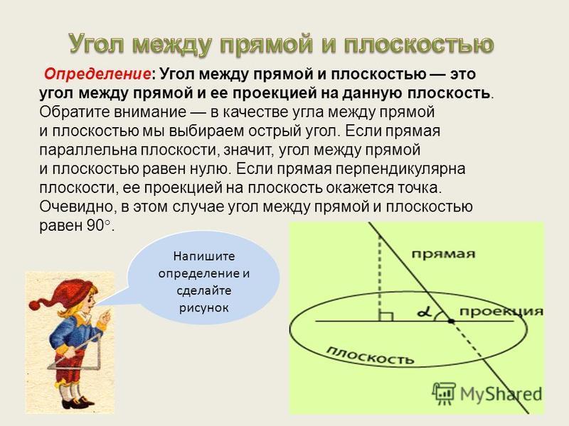 Определение: Угол между прямой и плоскостью это угол между прямой и ее проекцией на данную плоскость. Обратите внимание в качестве угла между прямой и плоскостью мы выбираем острый угол. Если прямая параллельна плоскости, значит, угол между прямой и
