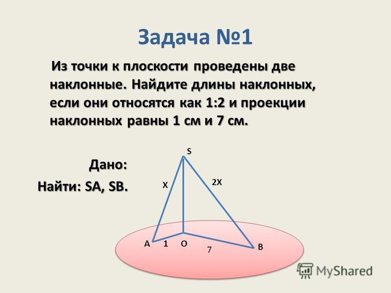 7 7 Задача 1 Из точки к плоскости проведены две наклонные. Найдите длины наклонных, если они относятся как 1:2 и проекции наклонных равны 1 см и 7 см. Из точки к плоскости проведены две наклонные. Найдите длины наклонных, если они относятся как 1:2 и