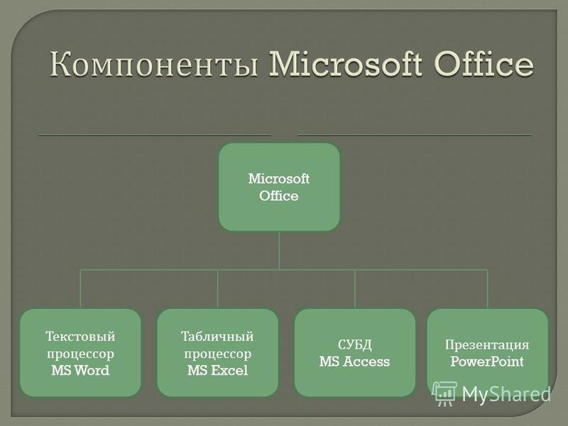 Microsoft Office Текстовый процессор MS Word Табличный процессор MS Excel СУБД MS Access Презентация PowerPoint
