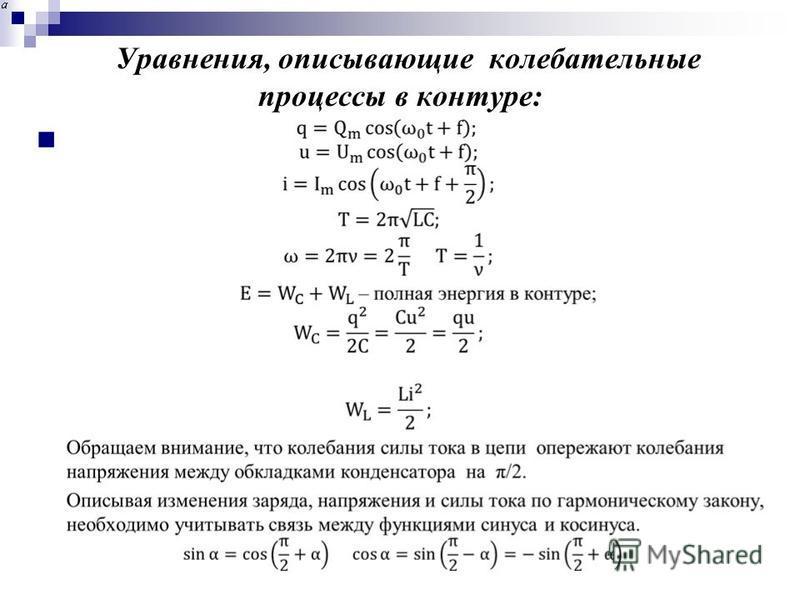Уравнения, описывающие колебательные процессы в контуре: