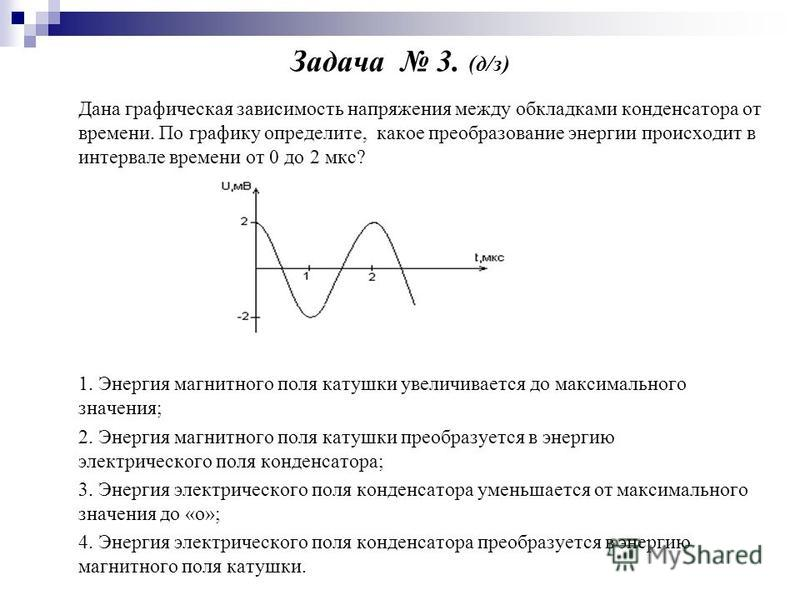 Задача 3. (д/з) Дана графическая зависимость напряжения между обкладками конденсатора от времени. По графику определите, какое преобразование энергии происходит в интервале времени от 0 до 2 мкс? 1. Энергия магнитного поля катушки увеличивается до ма