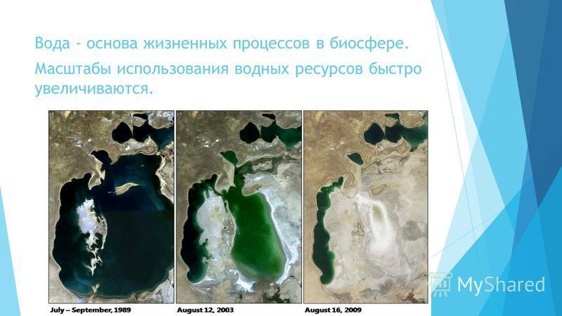 Вода - основа жизненных процессов в биосфере. Масштабы использования водных ресурсов быстро увеличиваются.