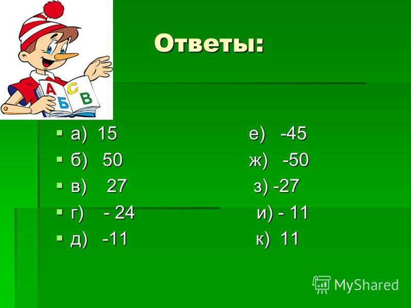 Вычислите: а) –15-(-30); е) –15-30; б) –300 : (–6); ж) –300 :6; в) –3 (–9); з) 3 (–9); г) –2(-4) –3; и) –2 4 –3; д) - (- (- (11))) к) - ( - ( - (-11)))