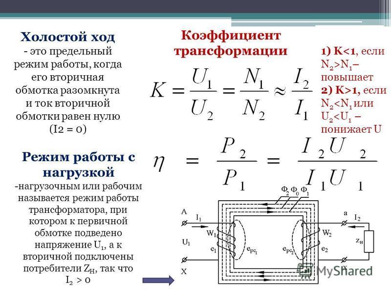 Коэффициент трансформации 1) K N 1 – повышает 2) K>1, если N 2 <N 1 или U 2 <U 1 – понижает U Холостой ход - это предельный режим работы, когда его вторичная обмотка разомкнута и ток вторичной обмотки равен нулю (I2 = 0) Режим работы с нагрузкой -наг
