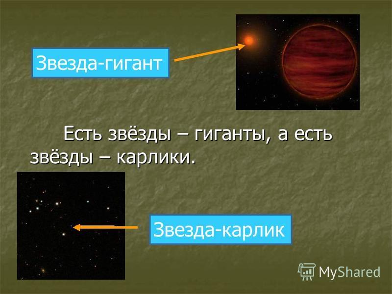 Есть звёзды – гиганты, а есть звёзды – карлики. звёзды – карлики. Звезда-гигант Звезда-карлик
