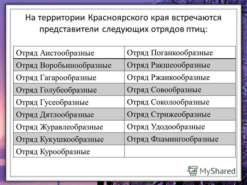 На территории Красноярского края встречаются представители следующих отрядов птиц: Отряд Аистообразные Отряд Поганкообразные Отряд Воробьинообразные Отряд Ракшеообразные Отряд Гагарообразные Отряд Ржанкообразные Отряд Голубеобразные Отряд Совообразны