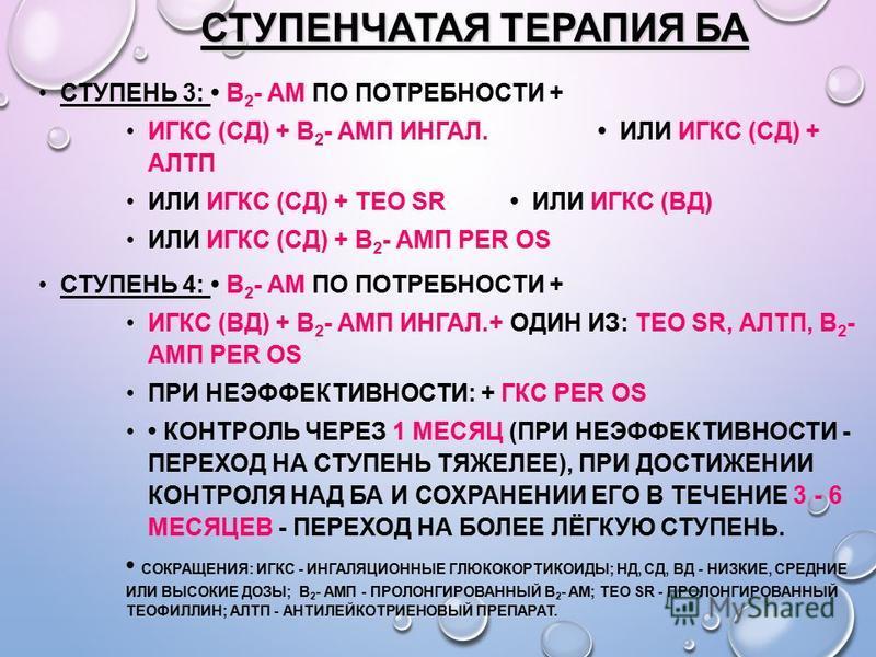 СТУПЕНЧАТАЯ ТЕРАПИЯ БА СТУПЕНЬ 3: Β 2 - АМ ПО ПОТРЕБНОСТИ + ИГКС (СД) + Β 2 - АМП ИНГАЛ. ИЛИ ИГКС (СД) + АЛТП ИЛИ ИГКС (СД) + ТЕО SR ИЛИ ИГКС (ВД) ИЛИ ИГКС (СД) + Β 2 - АМП PER OS СТУПЕНЬ 4: Β 2 - АМ ПО ПОТРЕБНОСТИ + ИГКС (ВД) + Β 2 - АМП ИНГАЛ.+ ОДИ