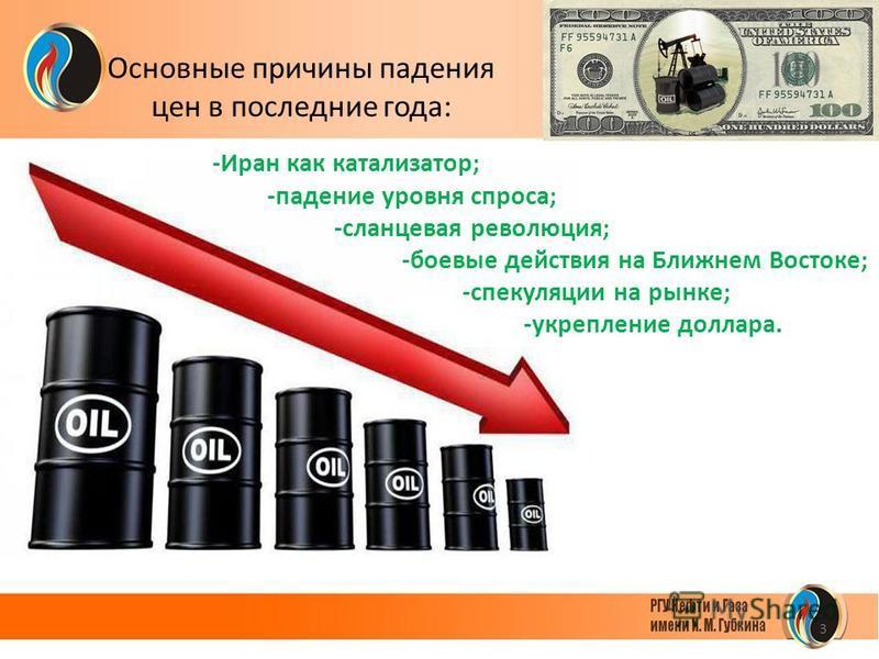 3 Основные причины падения цен в последние года: -Иран как катализатор; -падение уровня спроса; -сланцевая революция; -боевые действия на Ближнем Востоке; -спекуляции на рынке; -укрепление доллара.