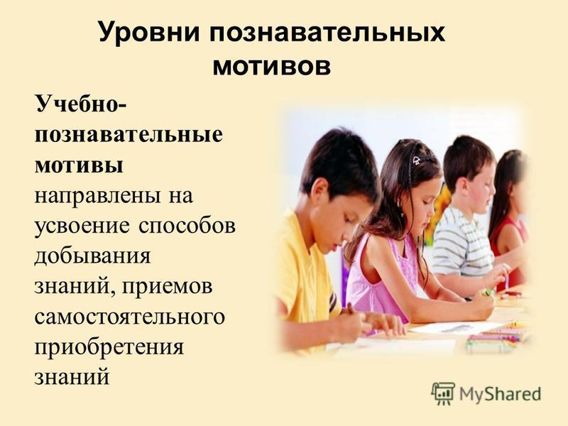 Уровни познавательных мотивов Учебно- познавательные мотивы направлены на усвоение способов добывания знаний, приемов самостоятельного приобретения знаний