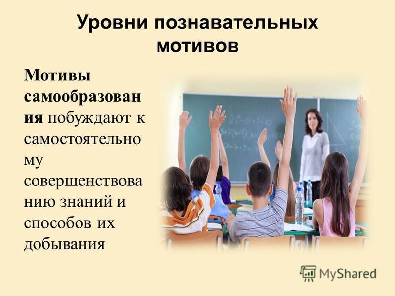 Уровни познавательных мотивов Мотивы самообразования побуждают к самостоятельно му совершенствованию знаний и способов их добывания