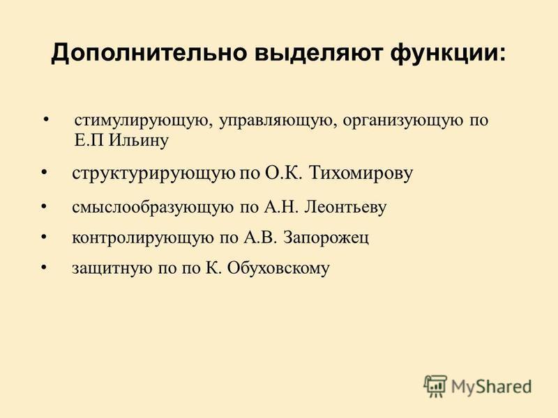 Дополнительно выделяют функции: контролирующую по А.В. Запорожец структурирующую по О.К. Тихомирову смыслообразующую по А.Н. Леонтьеву защитную по по К. Обуховскому стимулирующую, управляющую, организующую по Е.П Ильину