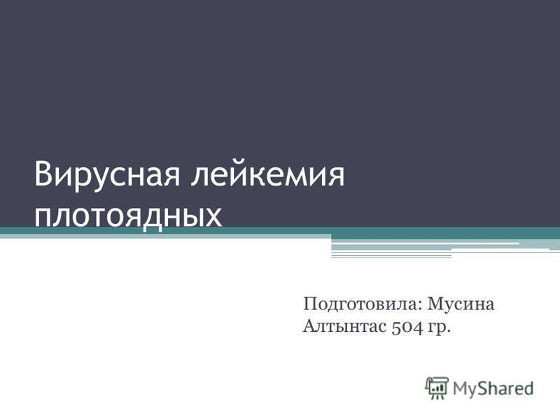 Вирусная лейкемия плотоядных Подготовила: Мусина Алтынтас 504 гр.