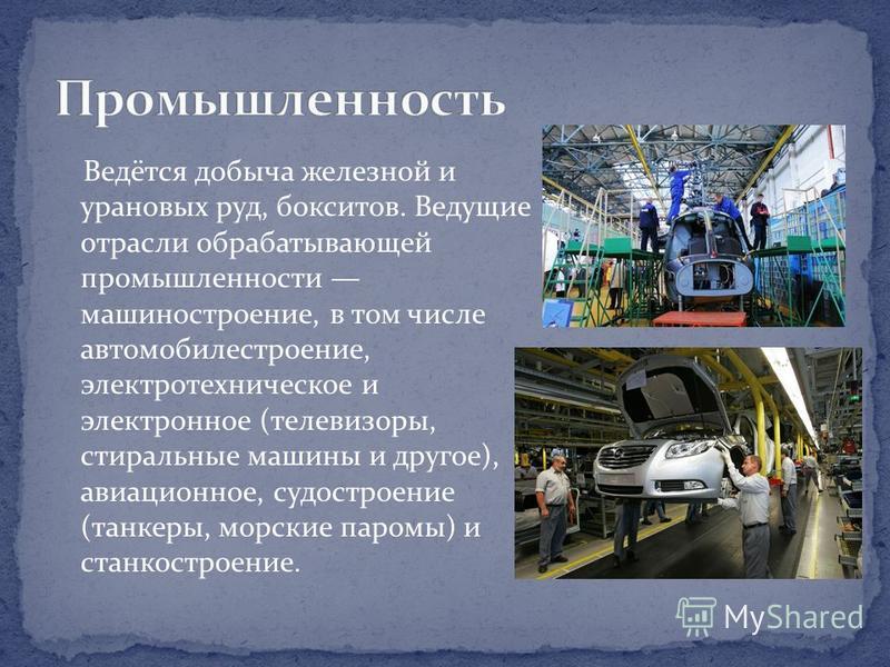 Ведётся добыча железной и урановых руд, бокситов. Ведущие отрасли обрабатывающей промышленности машиностроение, в том числе автомобилестроение, электротехническое и электронное (телевизоры, стиральные машины и другое), авиационное, судостроение (танк