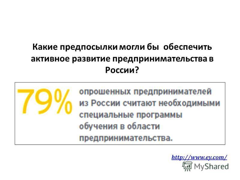 Какие предпосылки могли бы обеспечить активное развитие предпринимательства в России? http://www.ey.com/