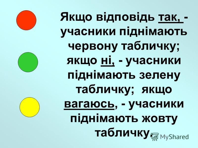 Якщо відповідь так, - учасники піднімають червону табличку; якщо ні, - учасники піднімають зелену табличку; якщо вагаюсь, - учасники піднімають жовту табличку.