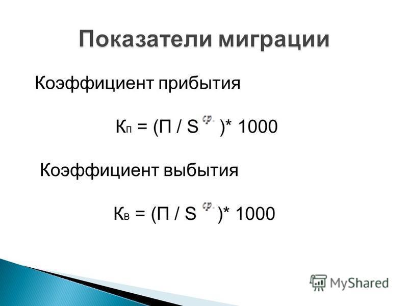 Коэффициент прибытия К п = (П / S )* 1000 Коэффициент выбытия К в = (П / S )* 1000