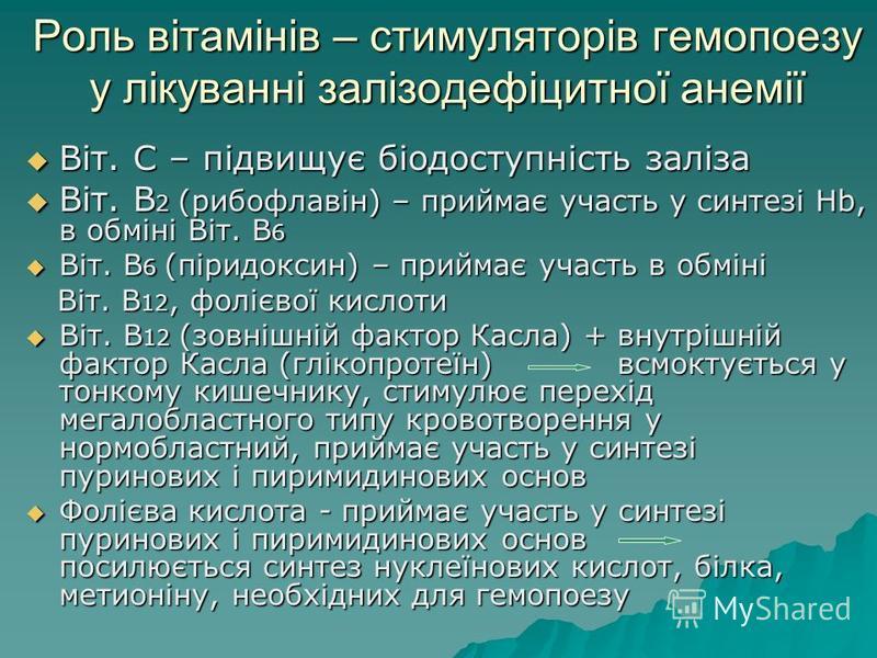 Роль вітамінів – стимуляторів гемопоезу у лікуванні залізодефіцитної анемії Віт. С – підвищує біодоступність заліза Віт. С – підвищує біодоступність заліза Віт. В 2 (рибофлавін) – приймає участь у синтезі Hb, в обміні Віт. В 6 Віт. В 2 (рибофлавін) –