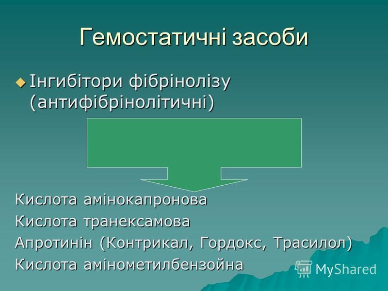 Гемостатичні засоби Інгибітори фібрінолізу (антифібрінолітичні) Інгибітори фібрінолізу (антифібрінолітичні) Кислота амінокапронова Кислота транексамова Апротинін (Контрикал, Гордокс, Трасилол) Кислота амінометилбензойна