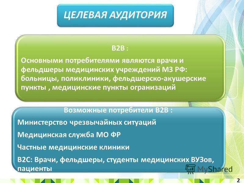 B2B : Основными потребителями являются врачи и фельдшеры медицинских учреждений МЗ РФ: больницы, поликлиники, фельдшерско-акушерские пункты, медицинские пункты организаций Возможные потребители B2B : Министерство чрезвычайных ситуаций Медицинская слу