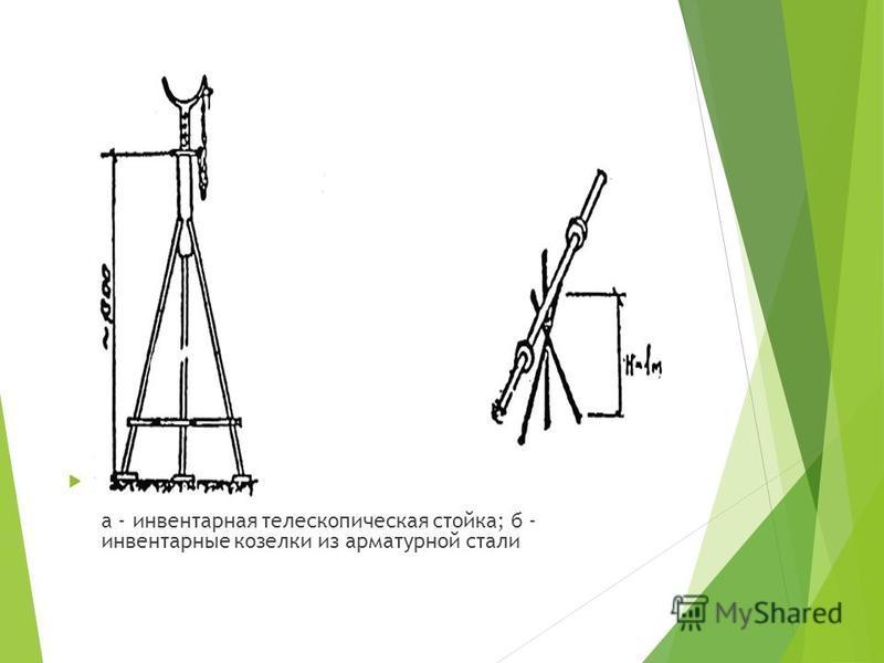 Рис.7. Вид опор под бетоновод: а - инвентарная телескопическая стойка; б - инвентарные козелки из арматурной стали