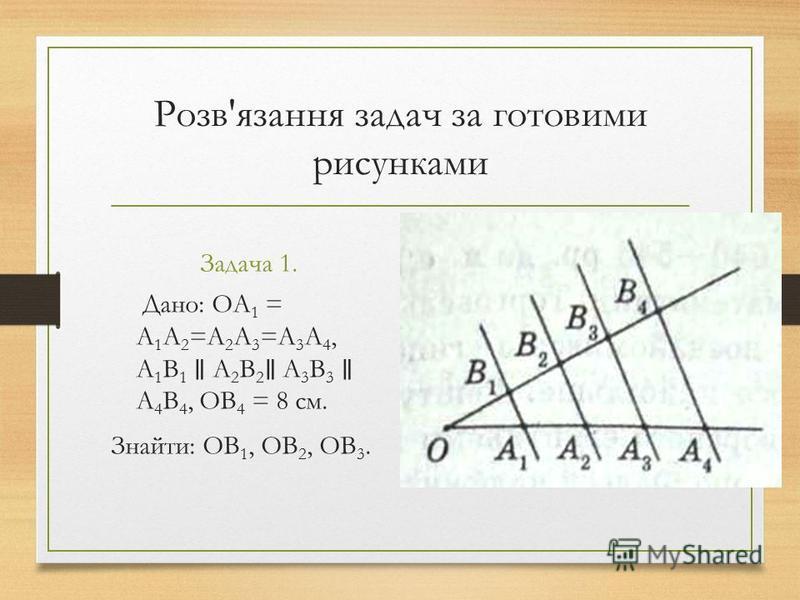 Розв'язання задач за готовими рисунками Задача 1. Дано: ОА 1 = А 1 А 2 =А 2 А 3 =А 3 А 4, А 1 В 1 А 2 В 2 А 3 В 3 А 4 В 4, ОВ 4 = 8 см. Знайти: ОВ 1, ОВ 2, ОВ 3.