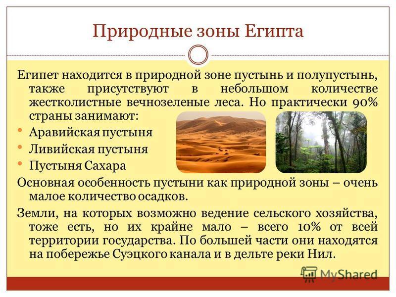Природные зоны Египта Египет находится в природной зоне пустынь и полупустынь, также присутствуют в небольшом количестве жестколистные вечнозеленые леса. Но практически 90% страны занимают: Аравийская пустыня Ливийская пустыня Пустыня Сахара Основная