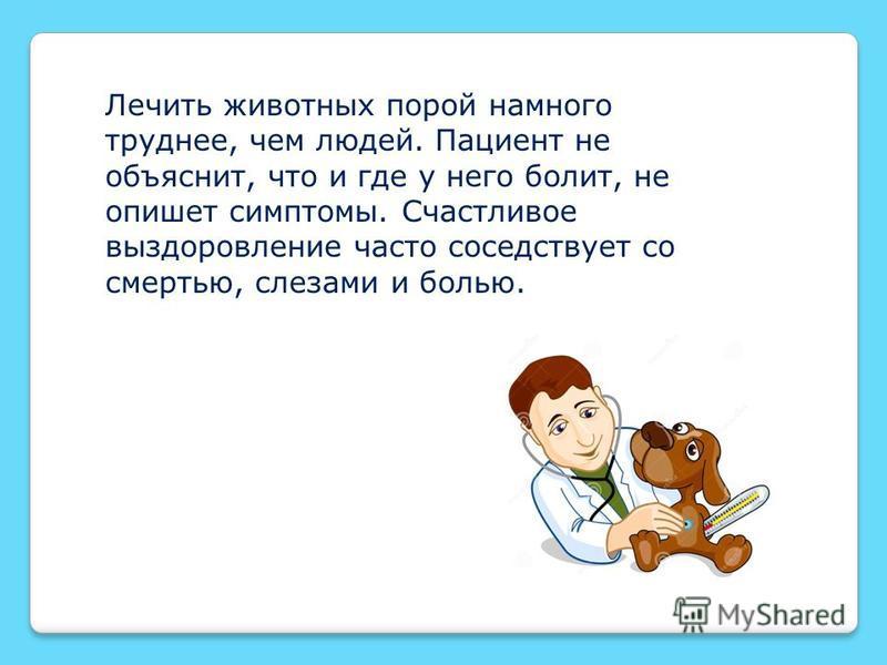 Лечить животных порой намного труднее, чем людей. Пациент не объяснит, что и где у него болит, не опишет симптомы. Счастливое выздоровление часто соседствует со смертью, слезами и болью.