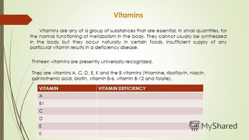 Vitamins Vitamins are any of a group of substances that are essential, in small quantities, for the normal functioning of metabolism in the body. They cannot usually be synthesized in the body but they occur naturally in certain foods. Insufficient s