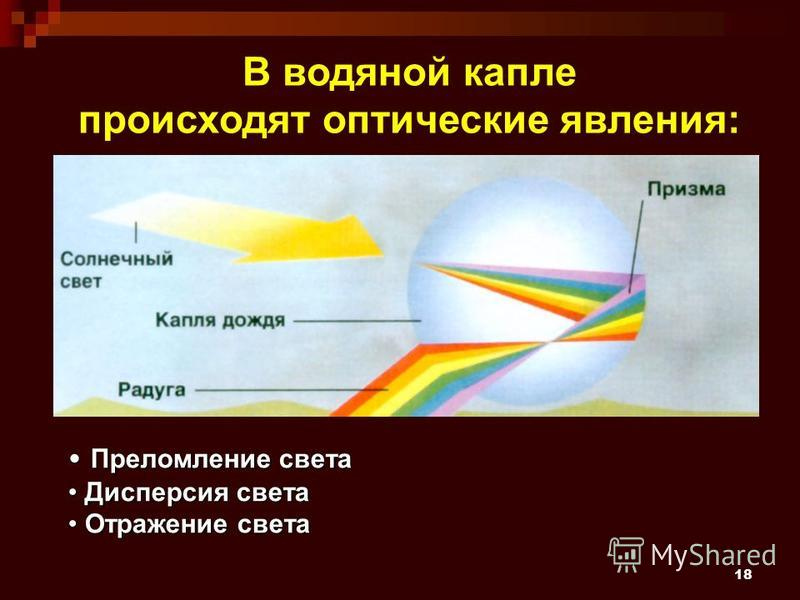 18 В водяной капле происходят оптические явления: Преломление света Преломление света Дисперсия света Дисперсия света Отражение света Отражение света