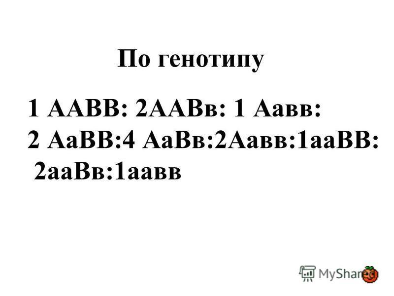 По генотипу 1 ААВВ: 2ААВв: 1 Аавв: 2 АаВВ:4 Аа Вв:2Аавв:1 аВВ: 2 а Вв:1 авв