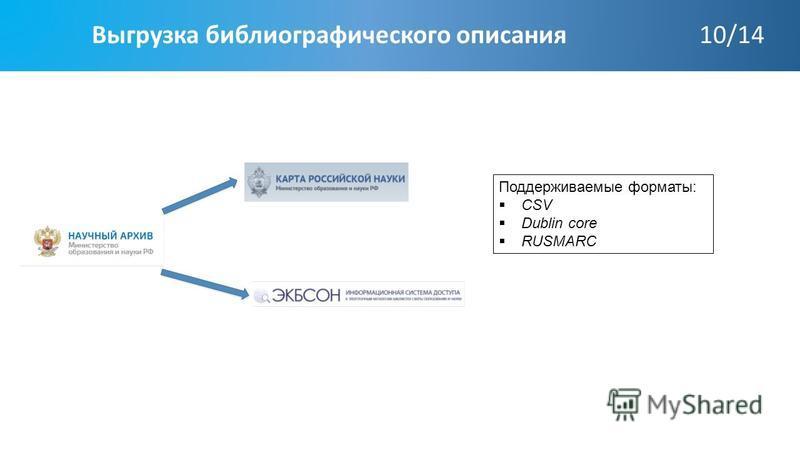 Выгрузка библиографического описания 10/14 Поддерживаемые форматы: CSV Dublin core RUSMARC