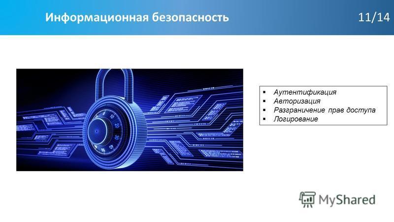 Информационная безопасность 11/14 Аутентификация Авторизация Разграничение прав доступа Логирование
