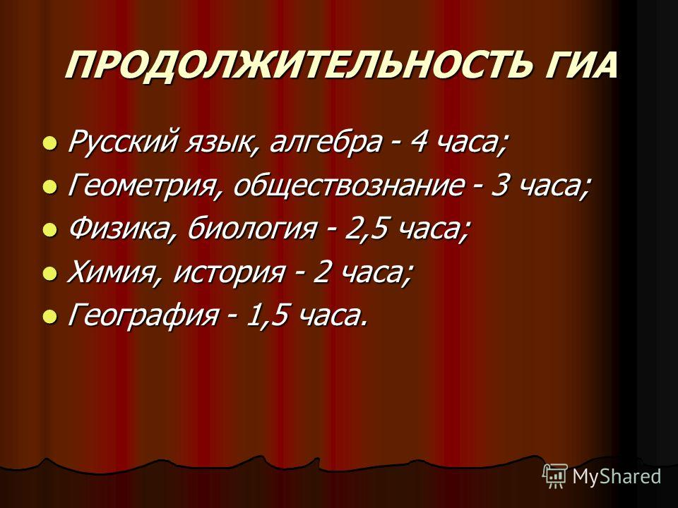 ПРОДОЛЖИТЕЛЬНОСТЬ ГИА Русский язык, алгебра - 4 часа; Русский язык, алгебра - 4 часа; Геометрия, обществознание - 3 часа; Геометрия, обществознание - 3 часа; Физика, биология - 2,5 часа; Физика, биология - 2,5 часа; Химия, история - 2 часа; Химия, ис