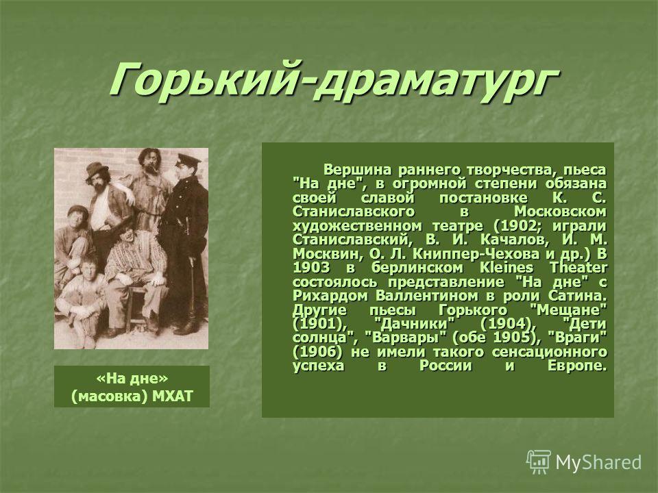 Горький-драматург Вершина раннего творчества, пьеса