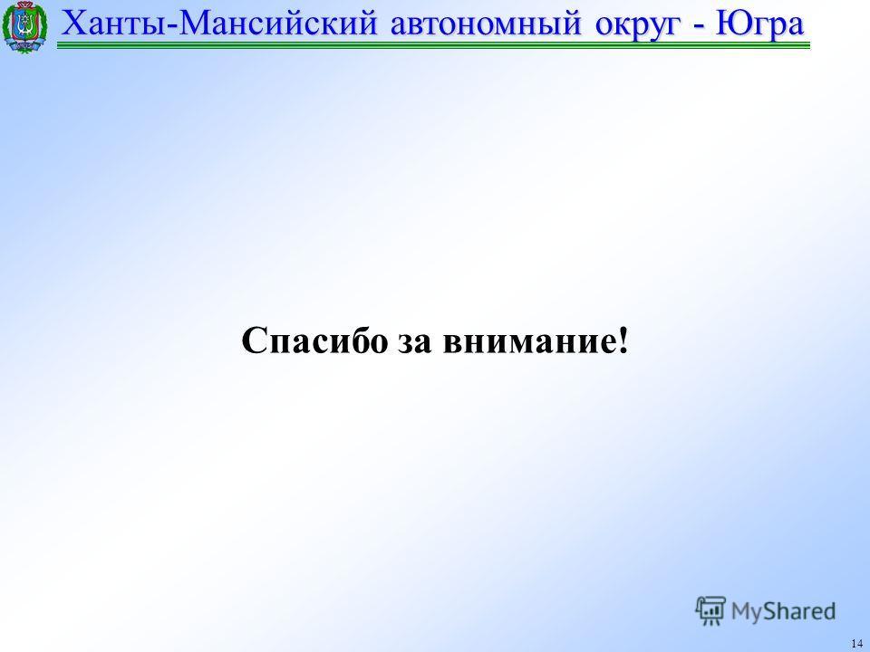 Ханты-Мансийский автономный округ - Югра 14 Спасибо за внимание!