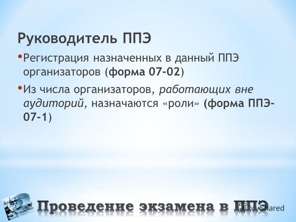 Руководитель ППЭ Регистрация назначенных в данный ППЭ организаторов (форма 07-02) Из числа организаторов, работающих вне аудиторий, назначаются «роли» (форма ППЭ- 07-1)