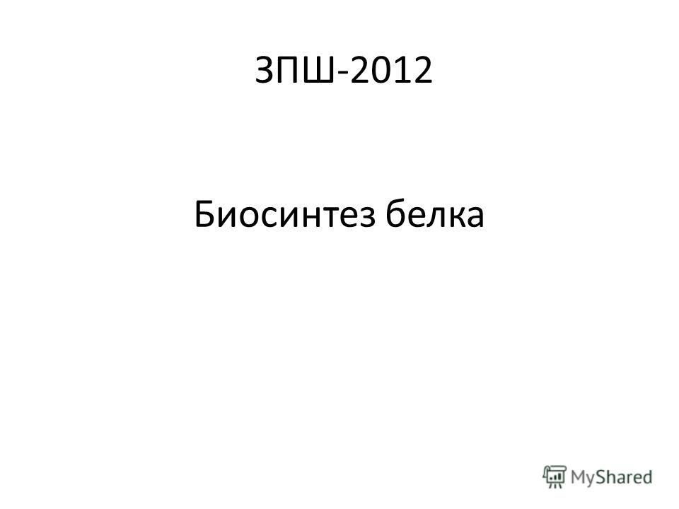 Биосинтез белка ЗПШ-2012